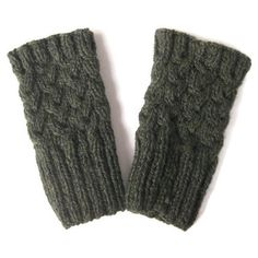 Dark Green Boot Toppers Knitted Boot Cuffs Knit Boot Socks Knit Leg... ($20) ❤ liked on Polyvore