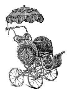 old catalogue page, vintage baby clip art, antique baby stroller image, free black and white clipart, pram stroller carriage graphic, paraso...