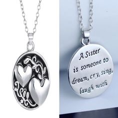 Double Sided Heart Sister Pendant