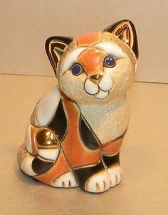 Ceramic Baby Orange Calico Cat  figurine, De Rosa Rinconada F358, Uruguay