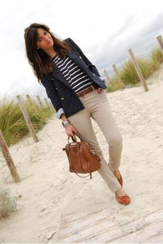 Business casual work outfit: navy blazer, khaki skinnies and navy striped top, cognac accents. Business casual work outfit: navy blazer, khaki skinnies and navy striped top, cognac accents. Work Casual, Casual Chic, Casual Office, Beach Casual, Office Style, Look Blazer, Casual Blazer, Navy Blazer Outfits, Beige Pants Outfit