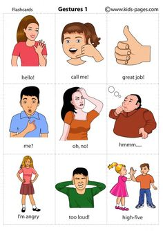 Kids Pages - Gestures 1 Something like this would've been good for my little brother ( who has Aspergers) growing up.