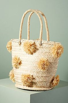 Palm Pommed Basket Bag