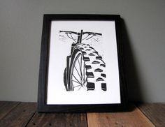 Mountain Bike Art Linocut Relief Print Printmaking by CoffeeInBed