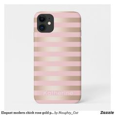 Shop Elegant modern chick rose gold pink striped Case-Mate iPhone case created by Naughty_Cat. Pink Phone Cases, Glitter Phone Cases, Pink Iphone, Cute Phone Cases, Iphone Cases, Iphone 8 Plus, Iphone 11, Apple Iphone, Gold Stripes