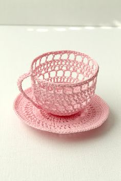 Cup and Saucer collection  (i had a dilemma of where to pin this, under pink, teacup, or crochet!  pink won out! :)