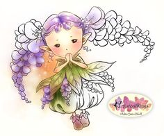 Digital Stamp - Wisteria Sprite - Pigtails of Wisteria Flowers - digistamp - Fantasy Line Art for Cards & Crafts by Mitzi Sato-Wiuff