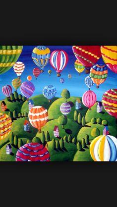 Beautiful hot air balloon painting