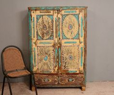 Antique Distressed Rustic Hand Carved Bright Turquoise Indian Cupboard. $1,299.00, via Etsy. #INLOVE