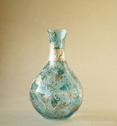HAND PAINTED VASE Blue Glass Vase Silver Plated by NevenaArtGlass, $135.00