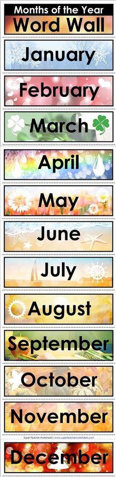 Display this colorful word wall in your classroom. This months of the year word wall will be a great reminder to your students as they memorize the months. Classroom Rules, Preschool Classroom, Montessori Elementary, Kindergarten, English Teaching Materials, Teaching English, English Lessons, Learn English, Spanish Lessons