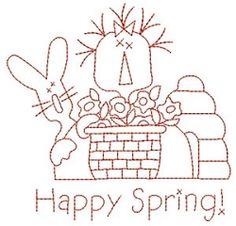 Redwork - Happy Spring 4x4 5x7 | Primitive | Machine Embroidery Designs | SWAKembroidery.com SWAK embroidery