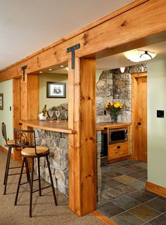 Rustic lodge - looks like the mountain brought indoors. :)
