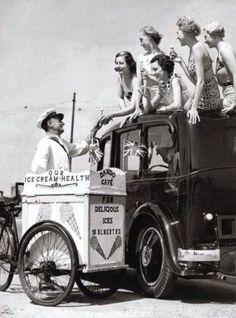 Blackpool Lancashire England UK Postcard Ice Cream Bicycle Car Girls in Bikinis