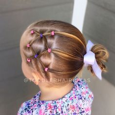 """895 Likes, 17 Comments - Cami Toddler Hair Ideas (@toddlerhairideas) on Instagram: """"Side elastics and a messy bun! This one is cute and will stay in really well! Swipe for more angles!"""""""