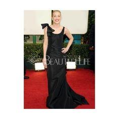 Celebrity Dress - Black Satin Floor-length Cowlneck Bow Celebrity Dress (400 AUD) found on Polyvore