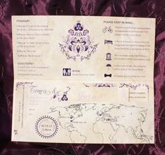 Antique Airline Ticket Inviations with Carolina Old Well, Turkish Patterns & Evil Eyes in Shades of Purple