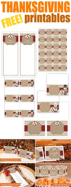 FREE Thanksgiving Printables! Food cards, menu cards, placecards, and more!