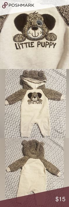 Warm Little Puppy Coverall Soft coverall with hood and puppy ears. Super warm sweater material for chilly days. Snap buttons between legs for easy diaper changing. Washed with Dreft Newborn laundry detergent. Smoke free home. Great condition! Koala Kids One Pieces Bodysuits