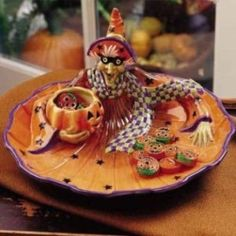 Fitz and Floyd Halloween Witch Hazel Chip and by SeductiveVintage, $78.00