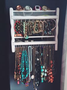 Upcycled .59 goodwill shelf into an amazing new jewelry holder!