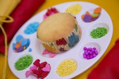 Cupcake decorating at a My Little Pony birthday party! See more party ideas at CatchMyParty.com!