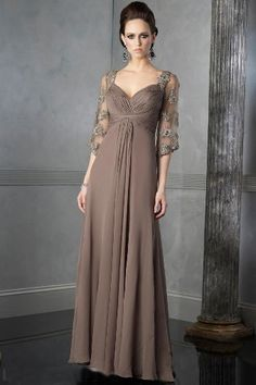 A-Line Chiffon Brown Square Middle Sleeves Empire Waist Ruched Bodice Floor Length Mother Of The Bride Dresses MOBD084
