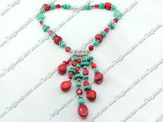 Coral Jewelry-coral turquoise necklace
