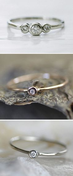 Beautiful Wedding or Every Day Rings. Delicate Diamonds and White Gold, Gold, and Silver. (by Porter Gulch) #wedding #ring