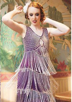 Unique Vintage Purple & Silver Beaded Fringe Reproduction Flapper Dress #uniquevintage