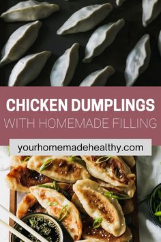 With their perfectly crisp outer shell and warm flavorful filling, with ground chicken, cabbage, and ginger, these healthy chinese chicken dumplings are one of the best meals around. You can learn how to make your own dough or pick up wrappers at the store. This recipe offers suggestions for making things quick and easy, while keeping them as homemade as possible. Pair these dumplings with the slightly salty, nutty, and tangy sesame soy dipping sauce, it's a match made in heaven! Ground Chicken Recipes, Healthy Chicken Recipes, Asian Recipes, Ethnic Recipes, Chinese Chicken Dumplings, Healthy Chinese, Asian Cooking, Quick Easy Meals, Crisp