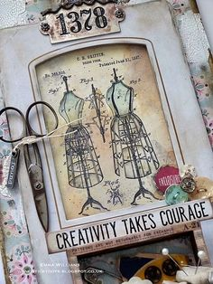 Creativity Takes Courage Tag by Emma Williams | Simon Says Stamp Blog! | Bloglovin' Junk Journal, Journal Cards, Timmy Time, Decoupage, Simon Says Stamp Blog, Sewing Cards, Collage Design, Vintage Sewing Machines, Beautiful Handmade Cards