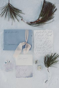 Who knew that pine sprigs would be adorable decor for a wedding stationery flatlay?