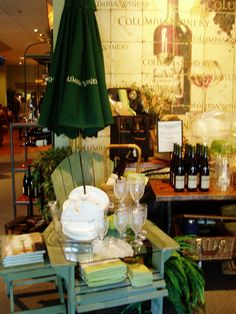 Debi Ward Kennedy . writer & designer: Portfolio vintage lawn furniture serves as both props and fixtures in this spring winery display