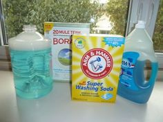 Make your own detergent for .05 a load! 3 tablespoons borax  3 tablespoons washing soda  2 tablespoons original Blue Dawn  Find a one-gallon container with a tight-fitting lid. Pour in the borax, washing soda and liquid Dawn. Add two cups of very hot water. Apply the lid and shake until the soda and borax have dissolved. Now fill the container with cold water. Reapply the lid, label and you're done. To use: Add 1 to 2 cups to each load of laundry depending on the size and soil levels.