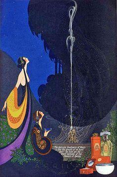Art Nouveau Illustrations by Fred Packer for Mavis Perfume Magazine, Art Deco Posters, Vintage Posters, Vintage Art, Antique Art, Perfume Ad, Vintage Perfume, Art Nouveau, Inspiration Art, Art Inspo
