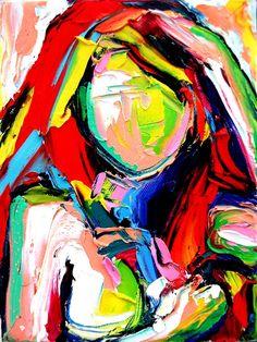 Figure painting abstract impasto oil nude by SagittariusGallery, $60.00