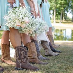Country bridesmaid dresses are not complete without a pair of cowgirl boots. Shot country bridesmaid essentials at David's Bridal | Photography: Sabrina Hall Photo