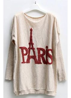 Batwing Sleeves Sweater with Paris Eiffel Tower Print, Sweater, Batwing Sleeves Sweater Paris Eiffel Tower, Casual