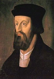 Jan Hus (/hʊs/;[1] Czech: [ˈjan ˈɦus]; c.1372 – 6 July 1415[2]), often referred to in English as John Hus or John Huss, was a Czech priest, philosopher, early Christian reformer and Master at Charles University in Prague. After John Wycliffe, the theorist of ecclesiastical Reformation, Hus is considered the first Church reformer, as he lived before Luther, Calvin, and Zwingli.
