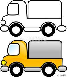 """""""coloring illustration - Truck"""" photo libre de droits sur la banque d'images Fotolia.com - Image 7533962"""