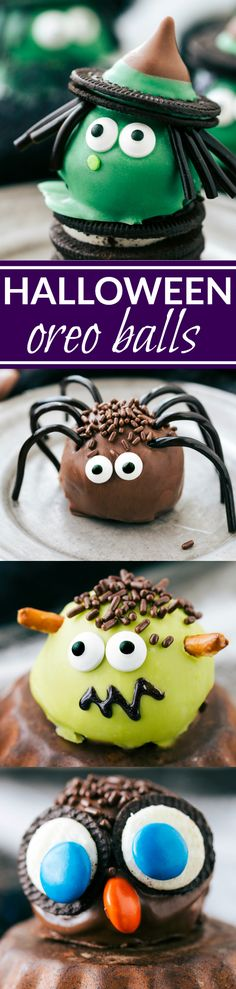Four different ways to dress up an oreo ball for Halloween -- a witch, spider, frankenstein, and an owl. Easy and delicious treats that are perfect for a party! Recipe via chelseasmessyapro. Shared by Where YoUth Rise Halloween Snacks, Halloween Oreos, Halloween Baking, Halloween Goodies, Halloween Cupcakes, Easy Halloween, Holidays Halloween, Halloween Party, Halloween Recipe