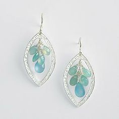 JULIE ANN G283: Natural Blue Chalcedony Drop Earrings from RedEnvelope.com  Made of brass with silver plating paired with blue chalcedony gemstones. 17 x 10 mm chalcedony teardrop