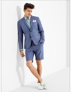 Stay cool and stylish with blue summer suit and shorts set.