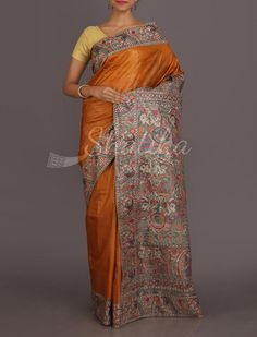 Bindu Rustic Folklore Of India Pure Hand Painted #MadhubaniSilkSaree