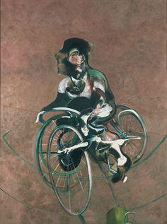 «Portrait of George Dyer» by Francis Bacon 1966. Bacons Porträt seines Liebhabers George Dyer, der von Zeitgenossen als «gleichermassen depressiver wie gewaltbereiter Gauner aus einfachen Verhältnissen» beschrieben wurde. Die Dynamik des Bewegungsablaufs von Dyer auf dem Fahrrad hat Bacon – für ihn typisch – jäh unterbrochen, die Stabilität des Radfahrers in Frage gestellt. Die oval-krummen Räder scheinen sich in alle Richtungen zu drehen.