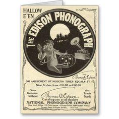 Shop Edison Phonograph Halloween Ad Jack O Lantern Postcard created by WelteHalloweenStore. Retro Halloween, Halloween Music, Fairy Halloween Costumes, Halloween Prints, Halloween Signs, Holidays Halloween, Halloween Themes, Happy Halloween, Halloween Images