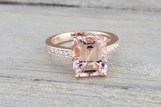 14k Rose Gold Elongated Emerald Cut Pink Morganite Diamond Engagement