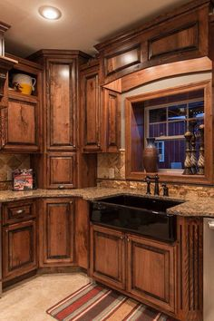 Rustic beech cabinets