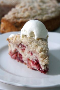 Strawberry-Raspberry-Rhubarb Buckle with Ginger Crumb Topping / Baker by Nature